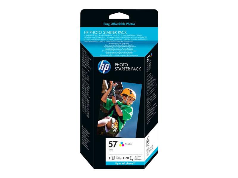 HP Photo Pack 57 - 1 - couleur (cyan, magenta, jaune) - cartouche imprimante/kit papier