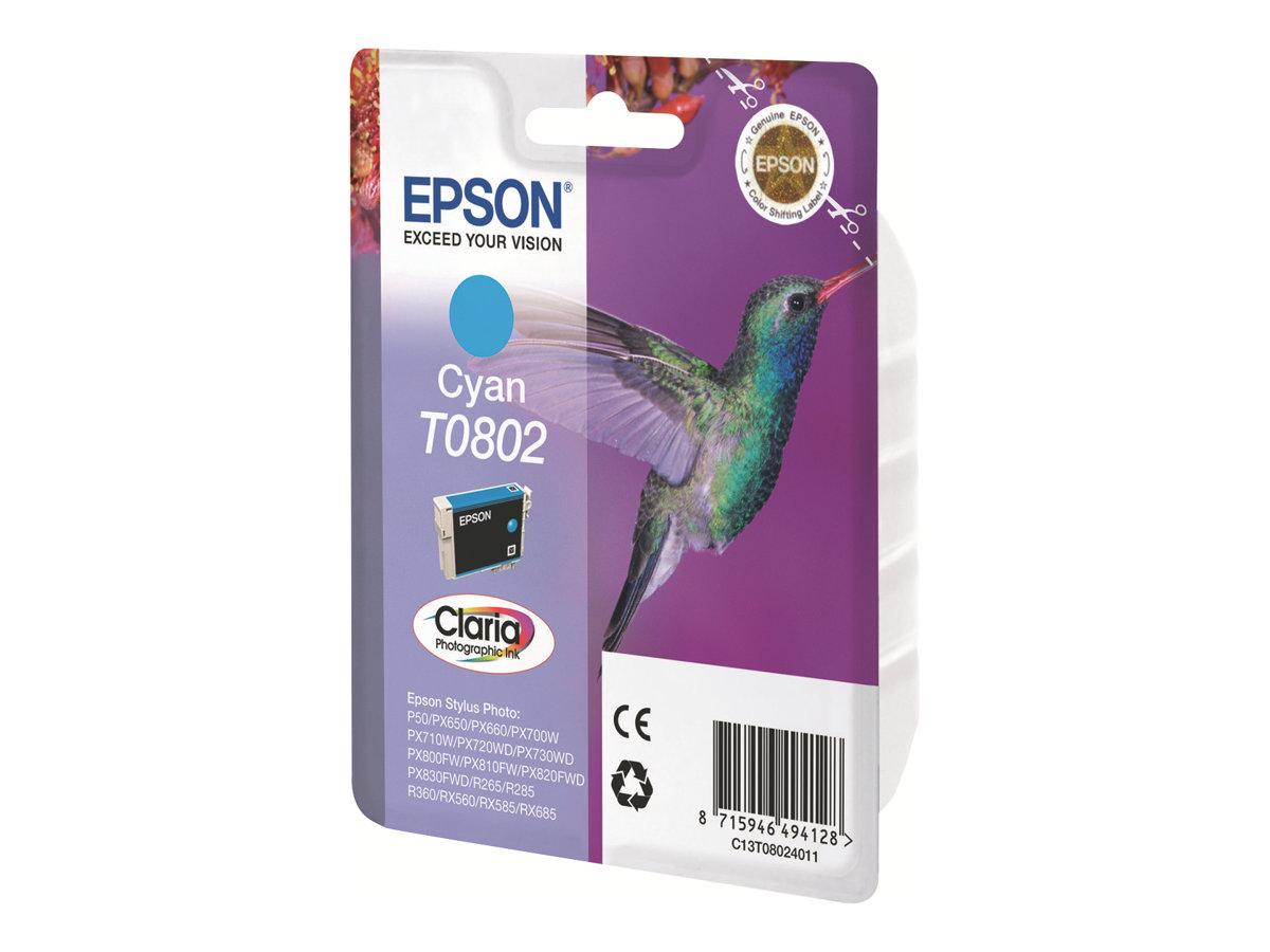Epson T0802 - colibri - cyan - originale - cartouche d'encre