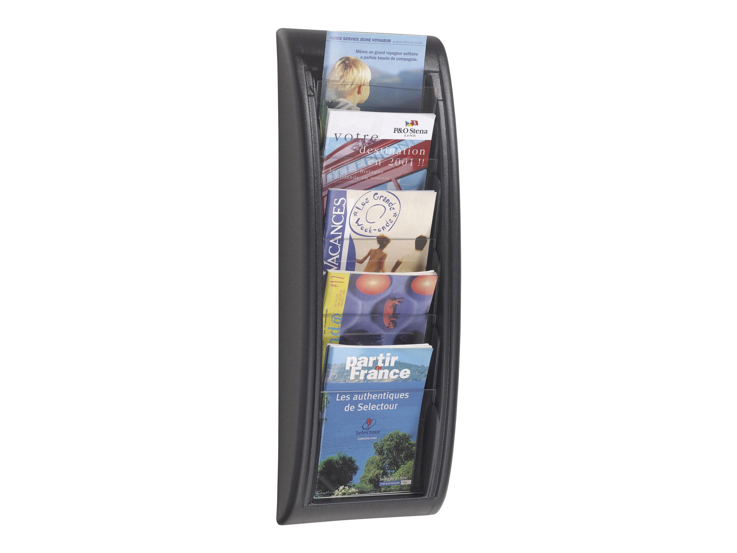 Paperflow MURAL QUICK FIT - Présentoir mural - 5 pochettes - pour A5 - noir, transparent