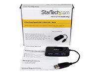 StarTech.com 4 Port Portable SuperSpeed Mini USB 3.0 Hub - Black - Hub