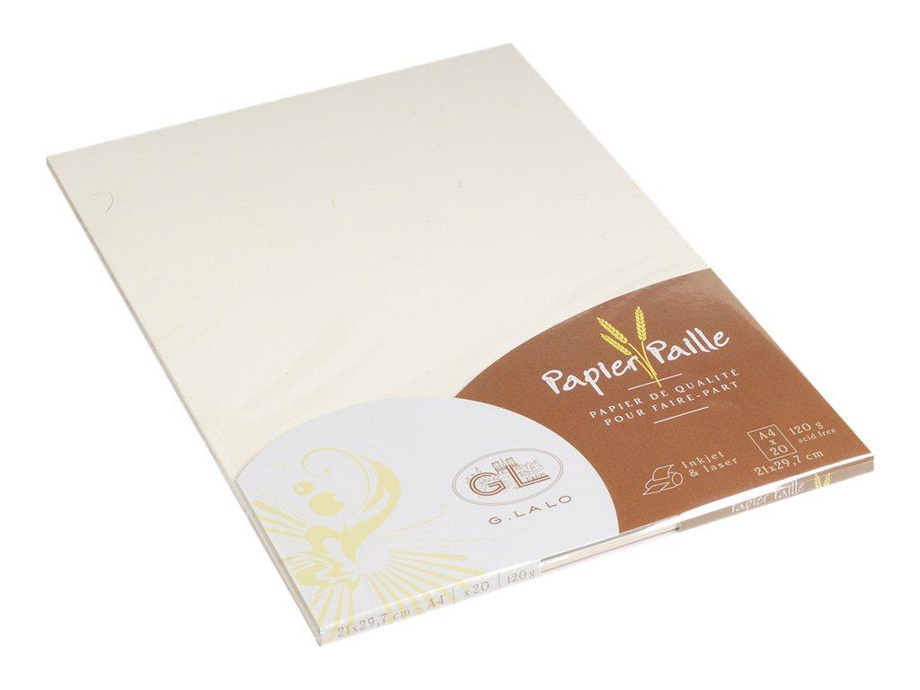 G.LALO Paille - Papier ordinaire - Paille Naturelle - A4 (210 x 297 mm) - 120 g/m² - 20 Feuilles