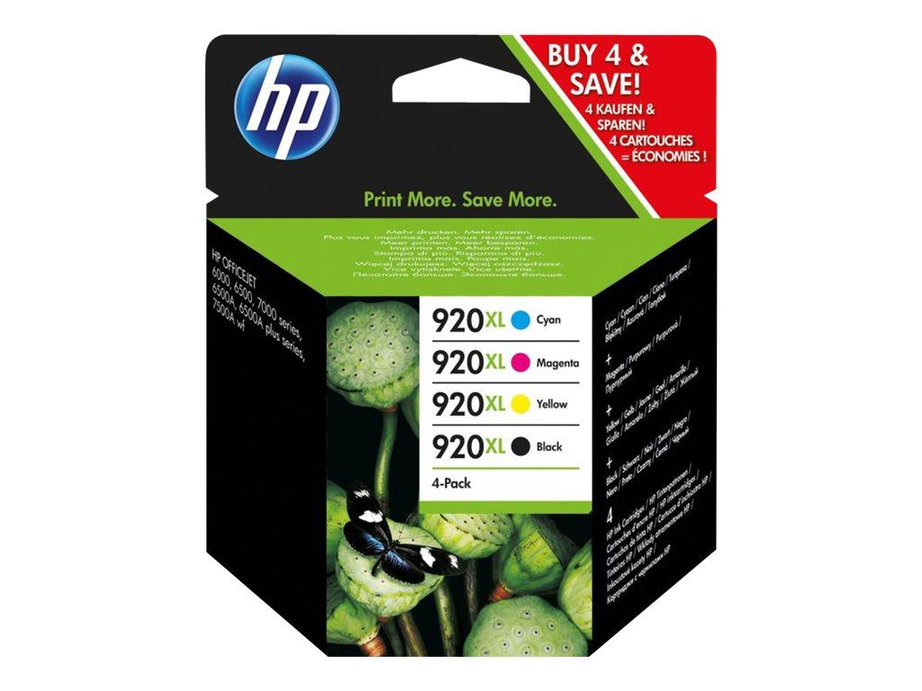 HP 920XL - pack de 4 - 1 - à rendement élevé - couleur (cyan, magenta, jaune, noir) - originale - cartouche d'encre (C2N92AE)