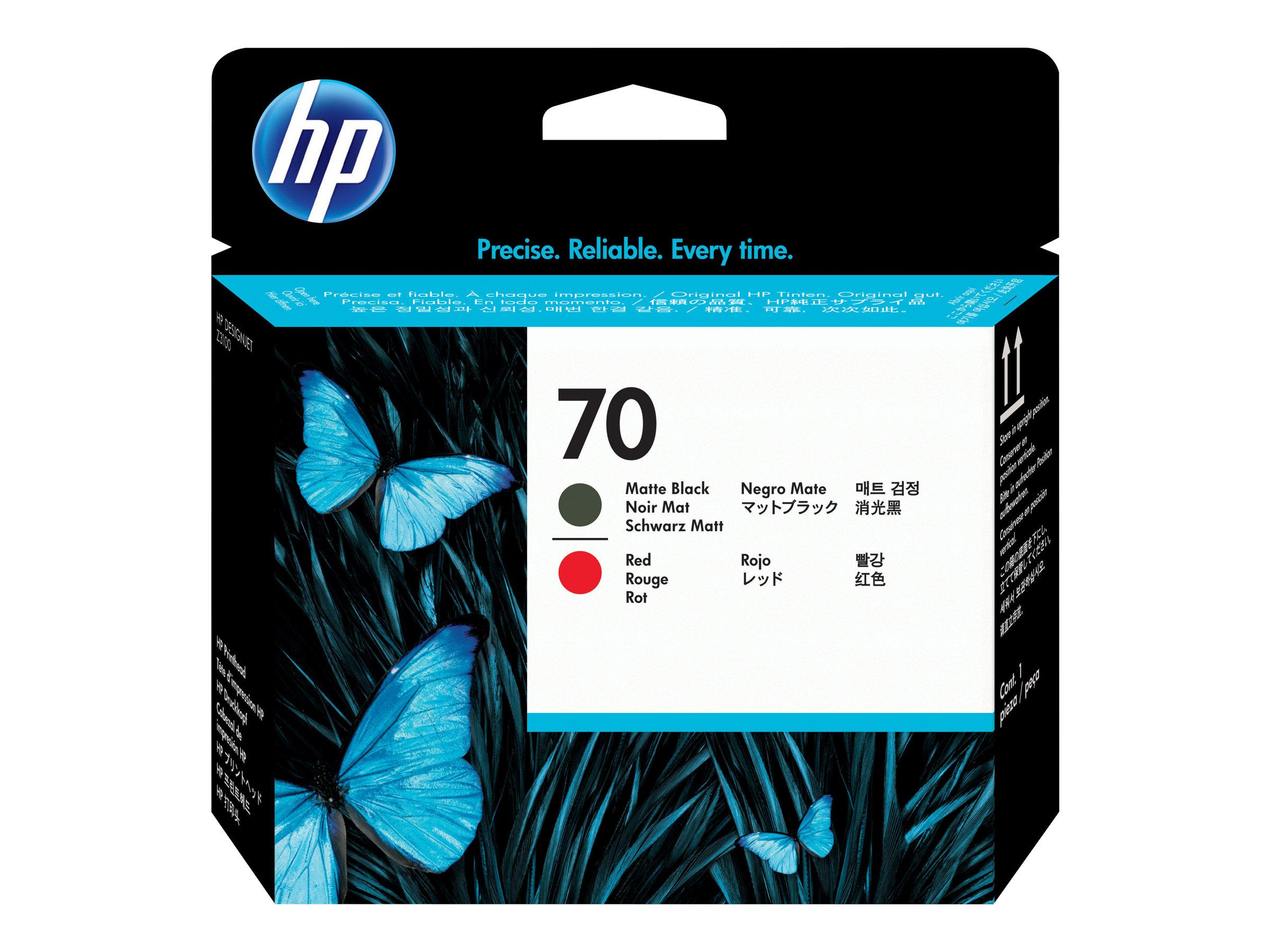 HP 70 - rouge, noir mat - tête d'impression
