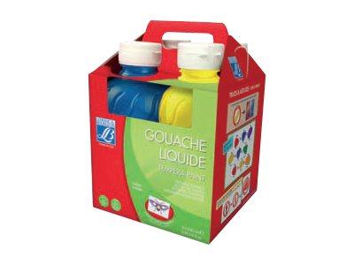 Lefranc & Bourgeois - 4 gouaches - blanc, jaune primaire, rouge primaire, bleu primaire - 250 ml