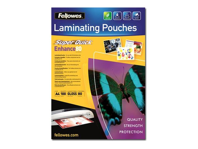 Fellowes Laminating Pouches SuperQuick Enhance 80 micron - pack de 100 - brillant - pochettes plastifiées