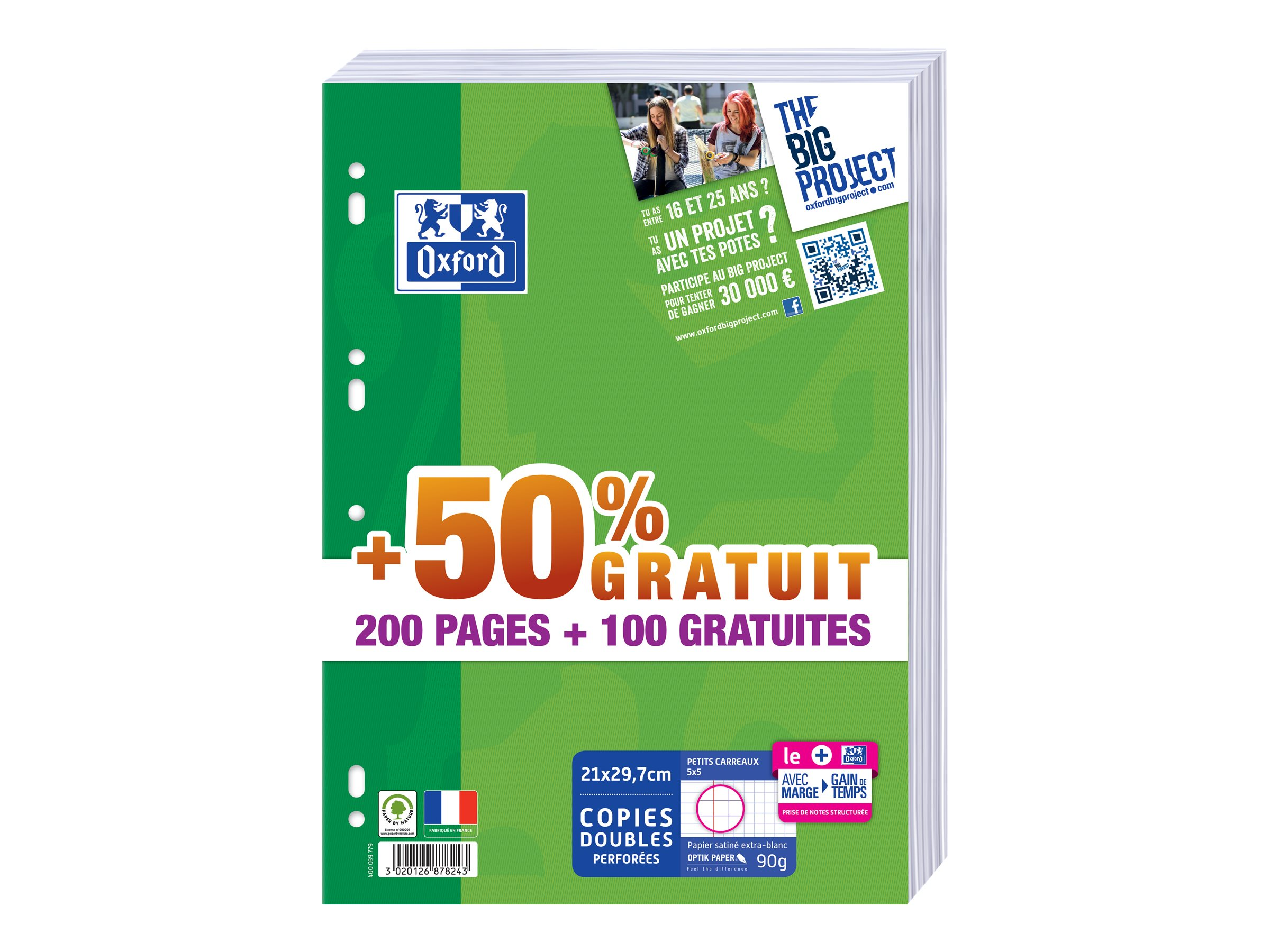 Oxford School - A4 - Copies doubles - 21 x 29,7 - 300 pages - Petits carreaux