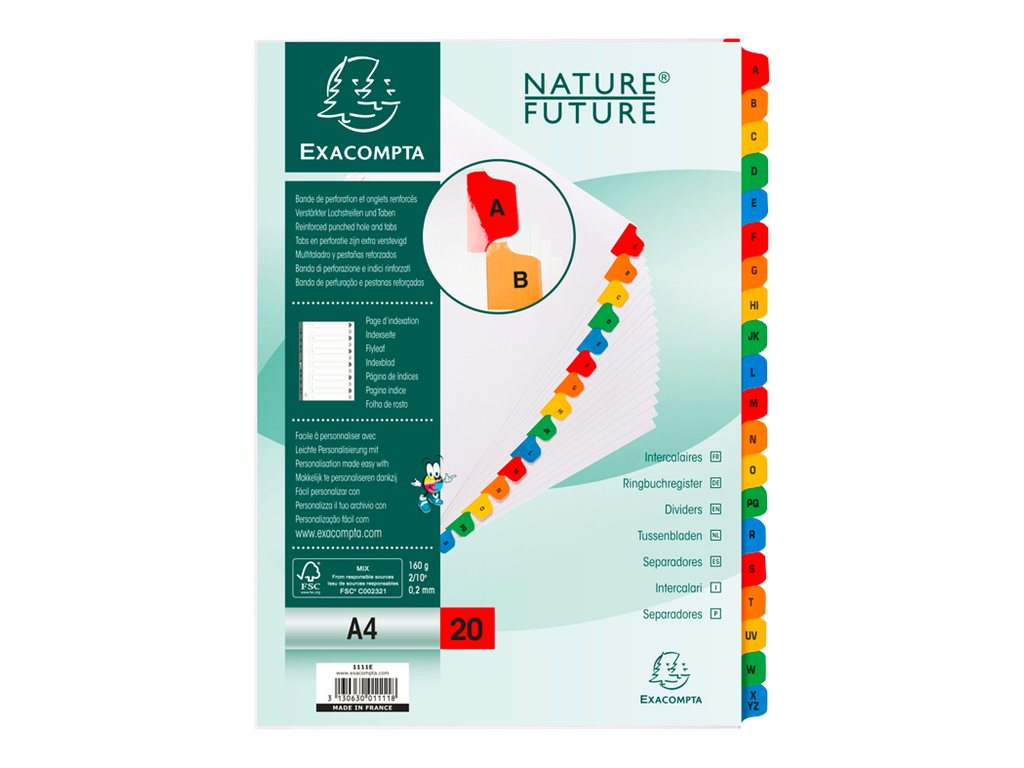 Exacompta Nature Future - Intercalaire - 20 positions - A- Z - A4 - blanc