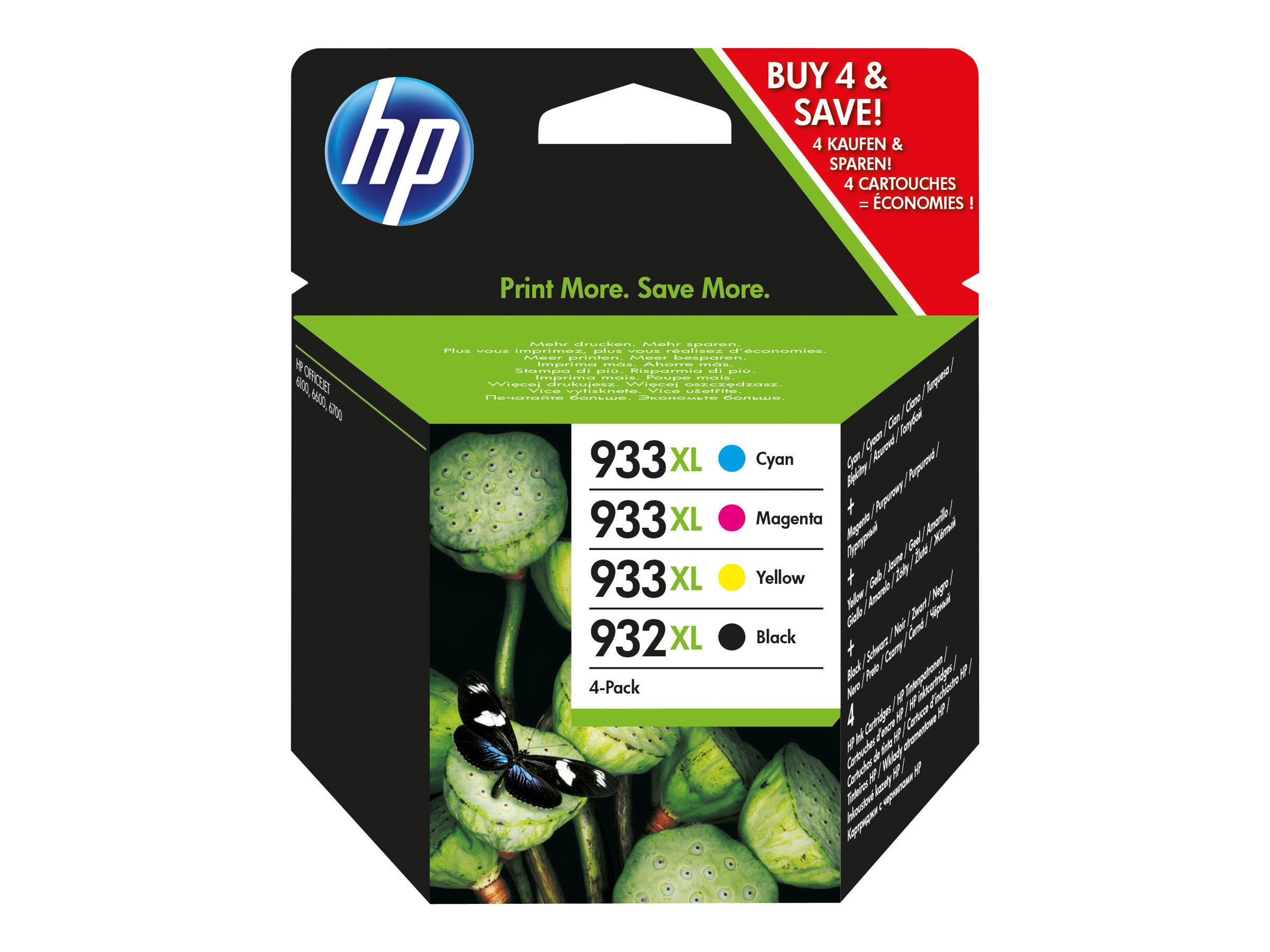 HP 932XL/933XL Combo Pack - pack de 4 - 1 - à rendement élevé - noir, jaune, cyan, magenta - originale - Officejet - cartouche d'encre (C2P42AE)