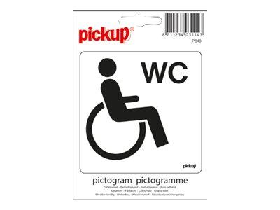 Pickup - Plaque de signalisation - 100 x 100 mm - autocollant - WC (handicapés)