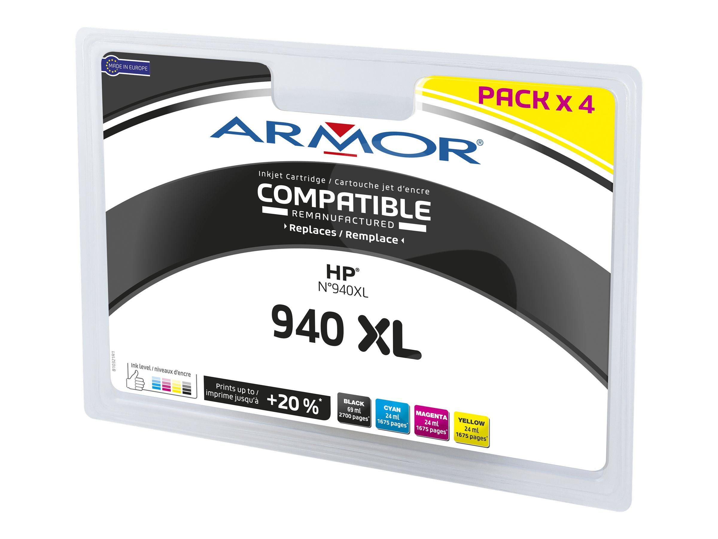 Armor B10321R1 - pack de 4 - noir, jaune, cyan, magenta - cartouche d'encre (alternative for: HP 940XL)