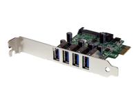 StarTech.com Carte controleur PCI Express 4 ports USB 3.0 SuperSpeed - Adaptateur PCIe 4x USB à (F) avec UASP, alimentation SATA