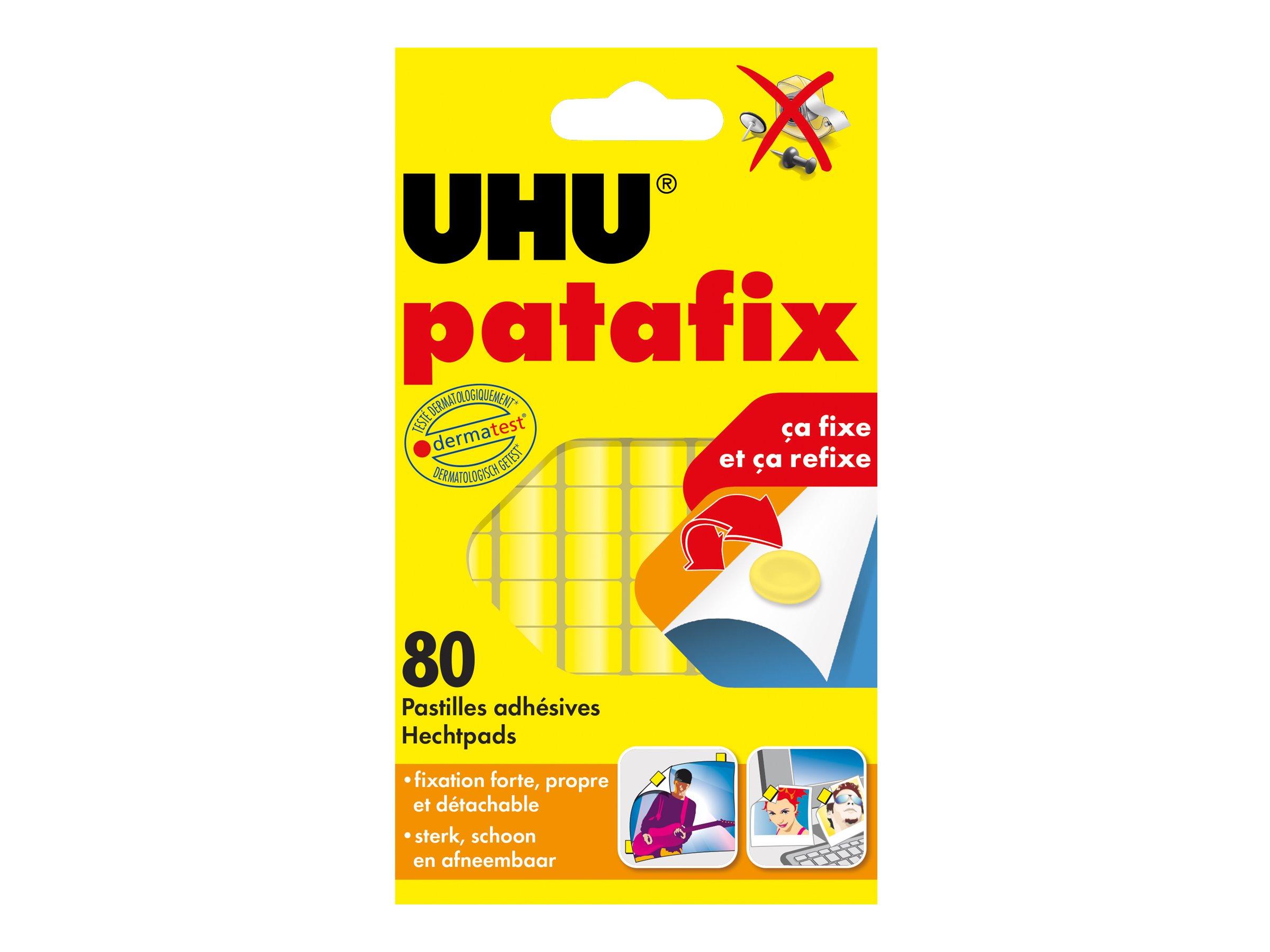 UHU patafix - pate adhésive - jaune - non permanent (pack de 80)