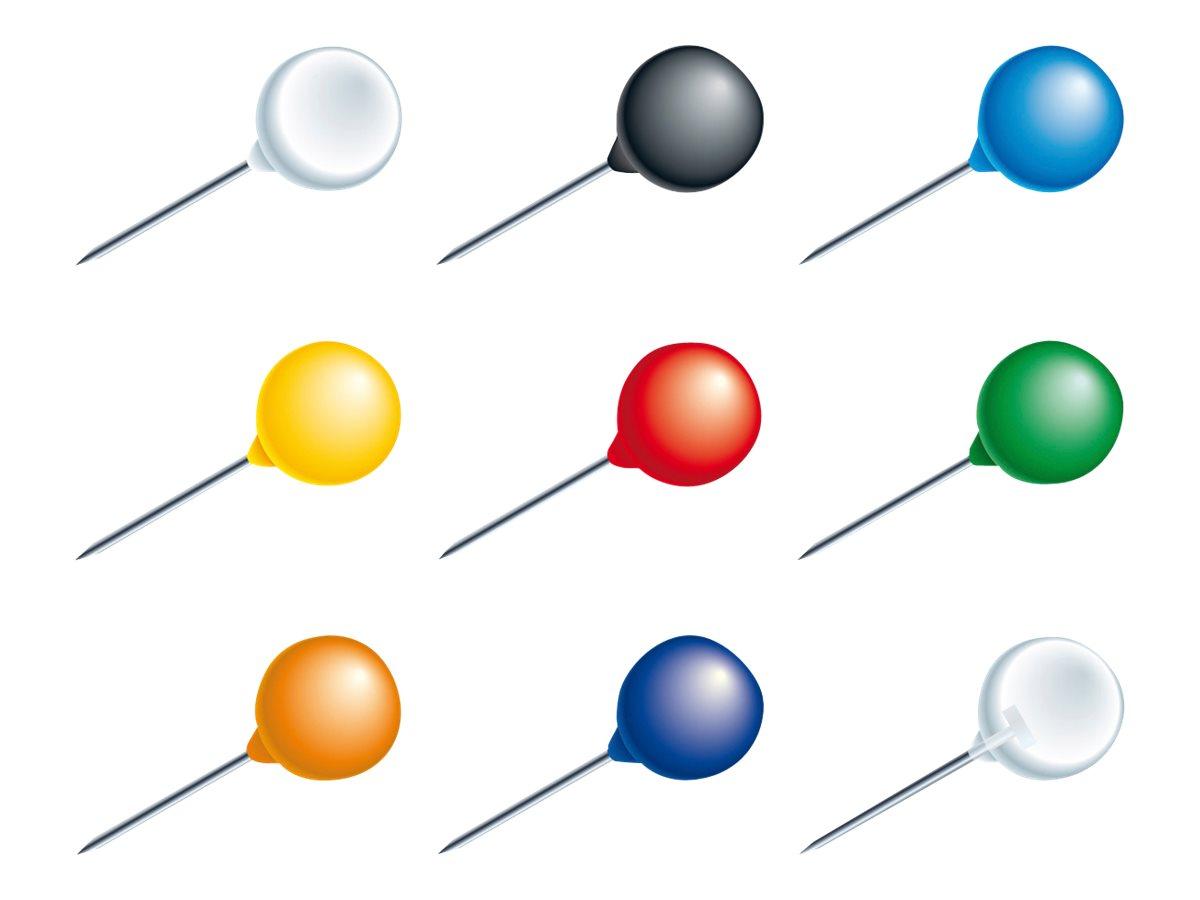 Exacompta - 20 Épingles tête de 8 mm de diamètre. aiguille de 15 mm - couleurs assorties
