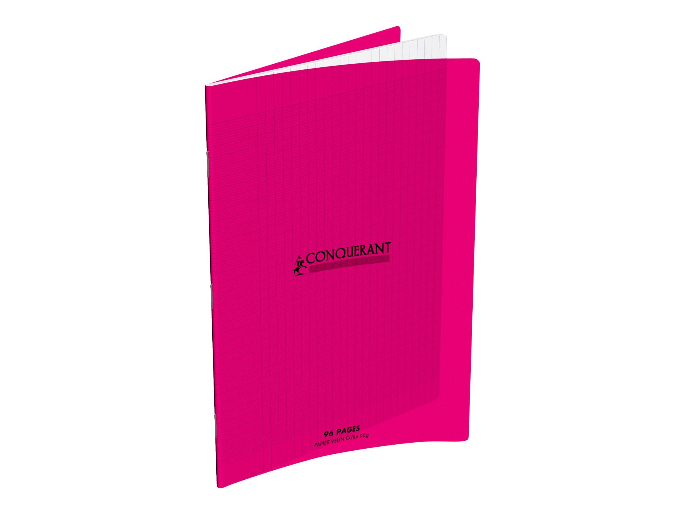 CONQUERANT Classique - Cahier - 24 x 32 cm - 96 pages - Grands carreaux - différents coloris disponibles