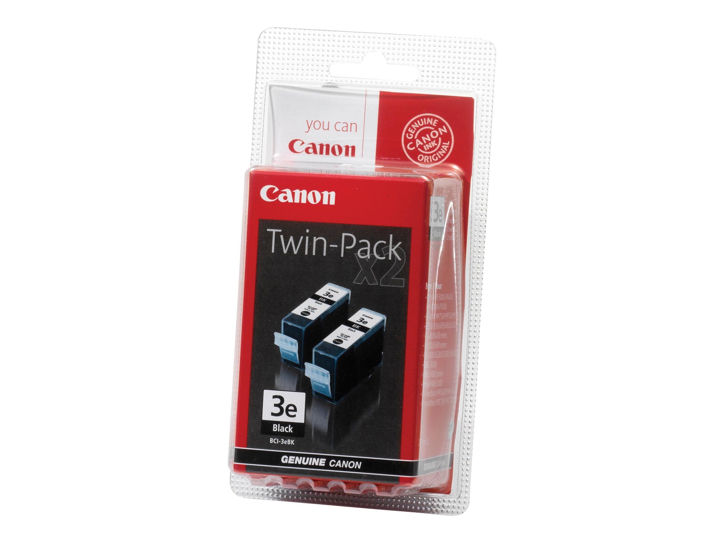 Canon BCI-3E Twin Black Pack - pack de 2 - noir - original - réservoir d'encre