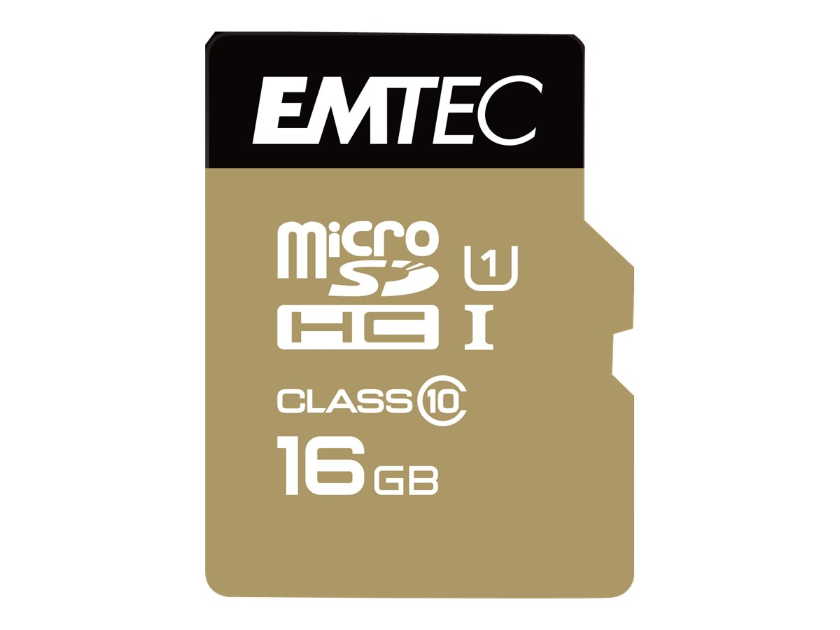 EMTEC Gold+ - carte mémoire flash - 16 Go - microSD