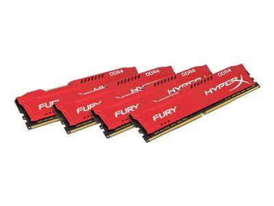 Kingston HyperX FURY - DDR4 - 64 GB: 4 x 16 GB - DIMM 288-pin - 2133 MHz / PC4-17000 - CL14 - 1.2 V - bez vyrovnávací paměti - bez ECC - červená