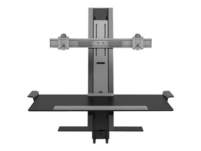 "Humanscale QuickStand - Mounting kit (desk clamp mount, crossbar for dual monitors, keyboard large platform) for 2 LCD displays / keyboard / mouse - black with gray trim - screen size: up to 24"" wide"