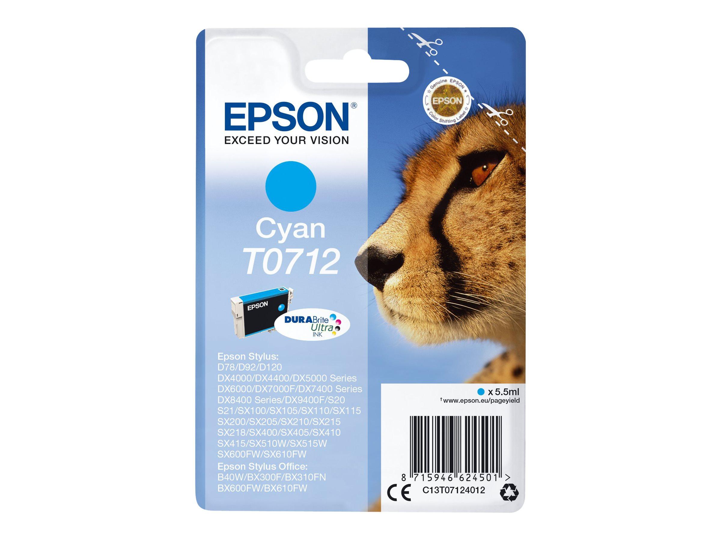 Epson T0712 - guépard - cyan - original - cartouche d'encre