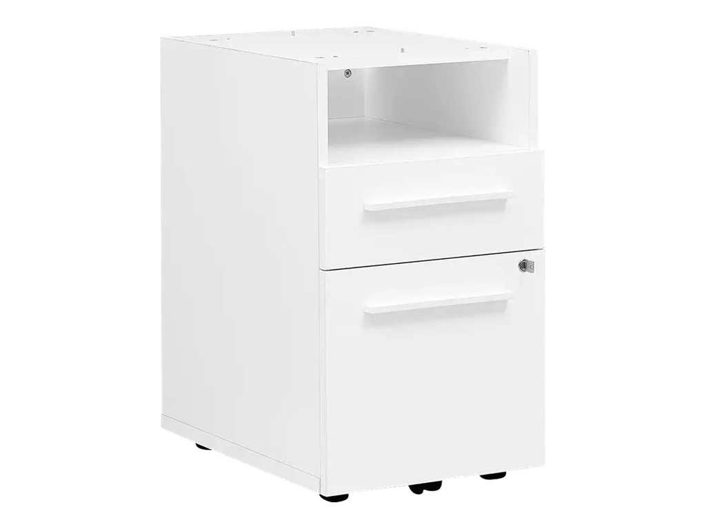 gautier office yes caisson bout de bureau 60 cm 2 tiroirs avec retour haut long blanc. Black Bedroom Furniture Sets. Home Design Ideas