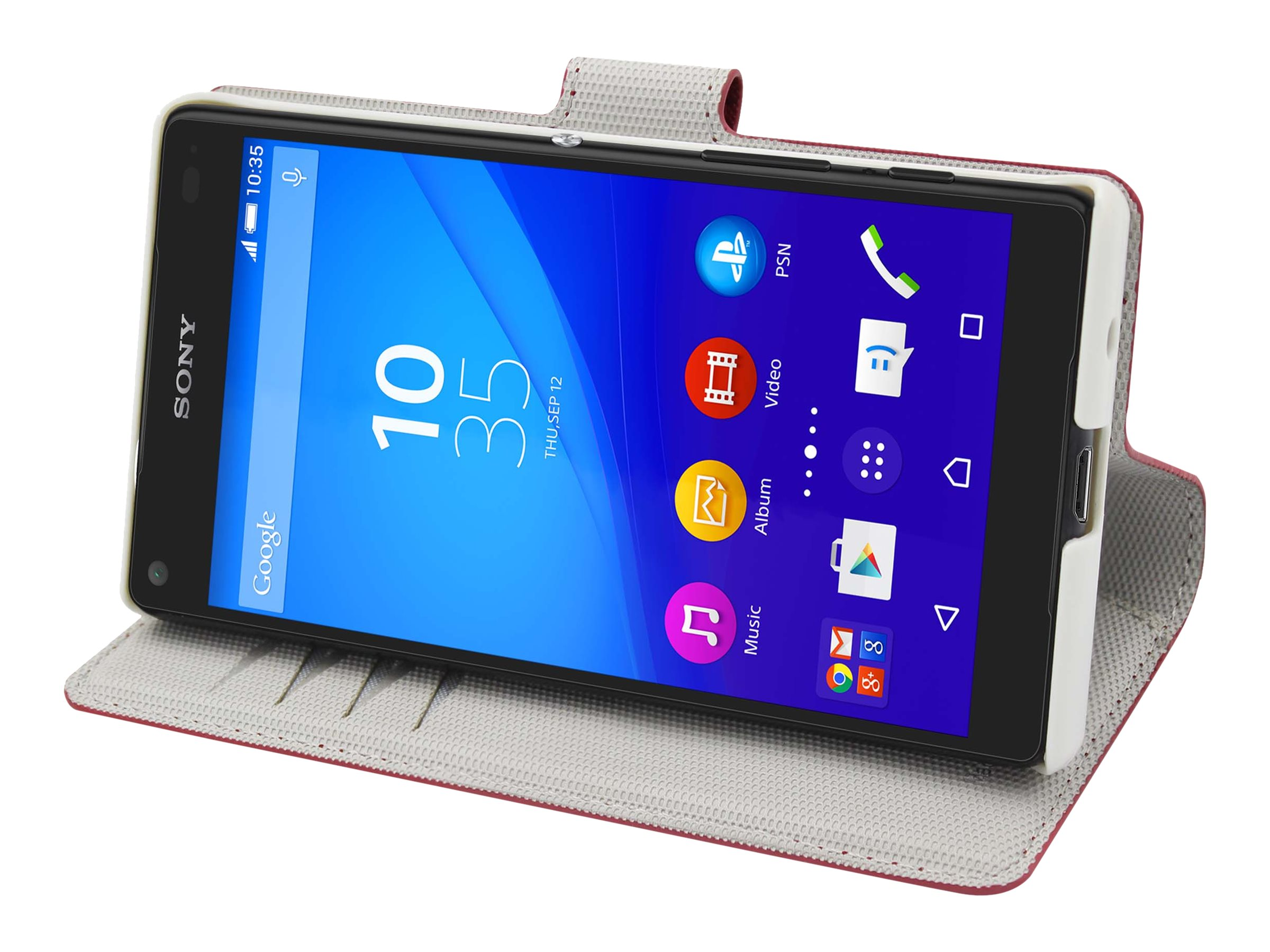 Muvit MFX Wallet Folio - Protection à rabat pour Sony XPERIA Z5 Compact - rouge