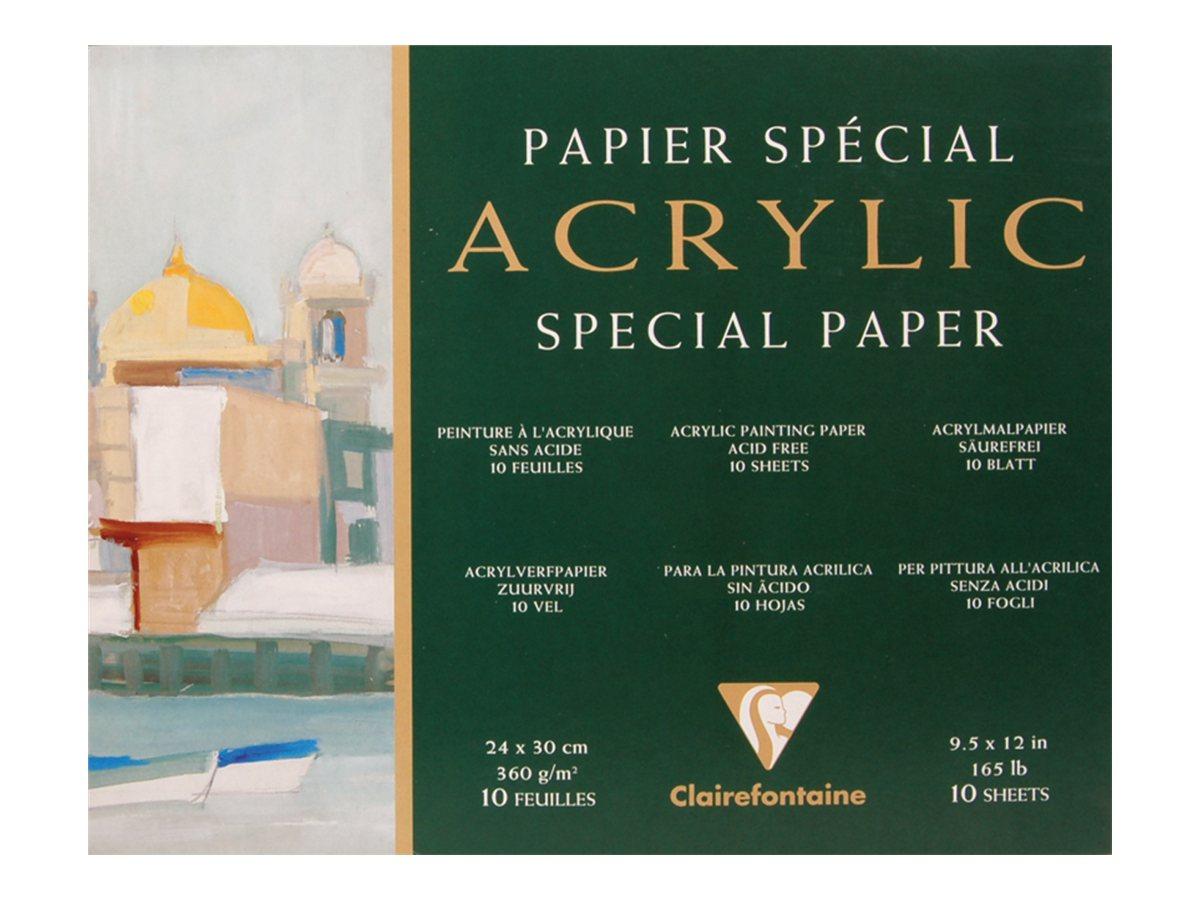 Clairefontaine Acrylic - Papier à dessin - 240 x 300 mm - 10 feuilles - blanc