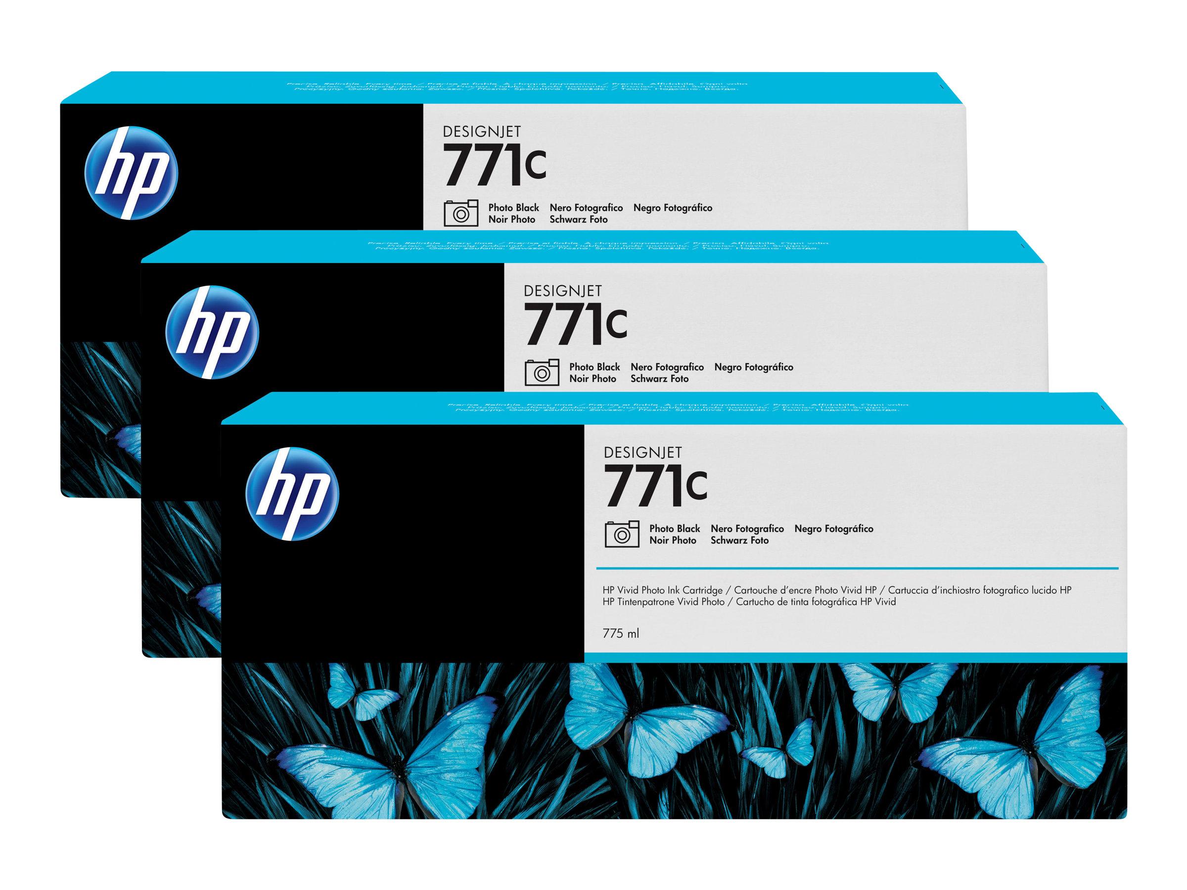 HP 771C - Pack de 3 - noiree photo - originale - cartouche d'encre