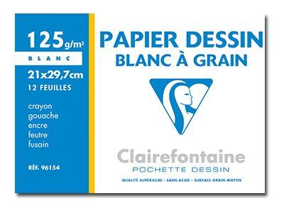Clairefontaine Dessin à Grain - Papier à dessin - A4 - 12 feuilles - 125 g/m² - blanc