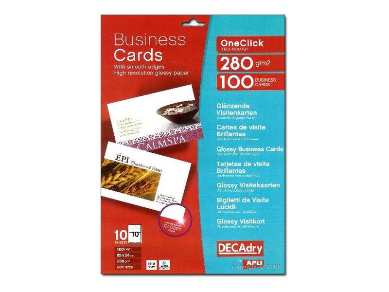 DECAdry OneClick OCC3729 - cartes de visite glacées - 100 carte(s)