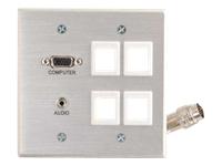 C2G RapidRun Double Gang Integrated HD15 + 3.5mm + Four Keystone Wall Plate