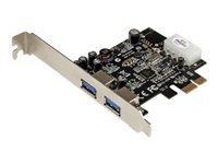 StarTech.com Carte Controleur PCI Express 2 Ports USB 3.0 SuperSpeed avec UASP - Adaptateur PCIe 2x USB 3.0 avec UASP - Alim LP4