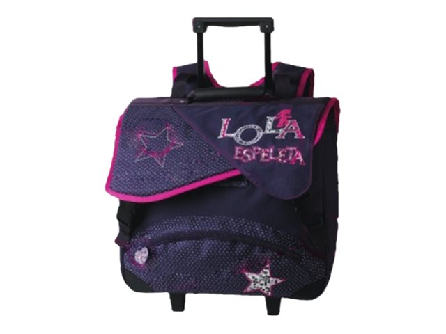 Oberthur Lola Espeleta - Cartable à roulettes - métal, cuir, violet