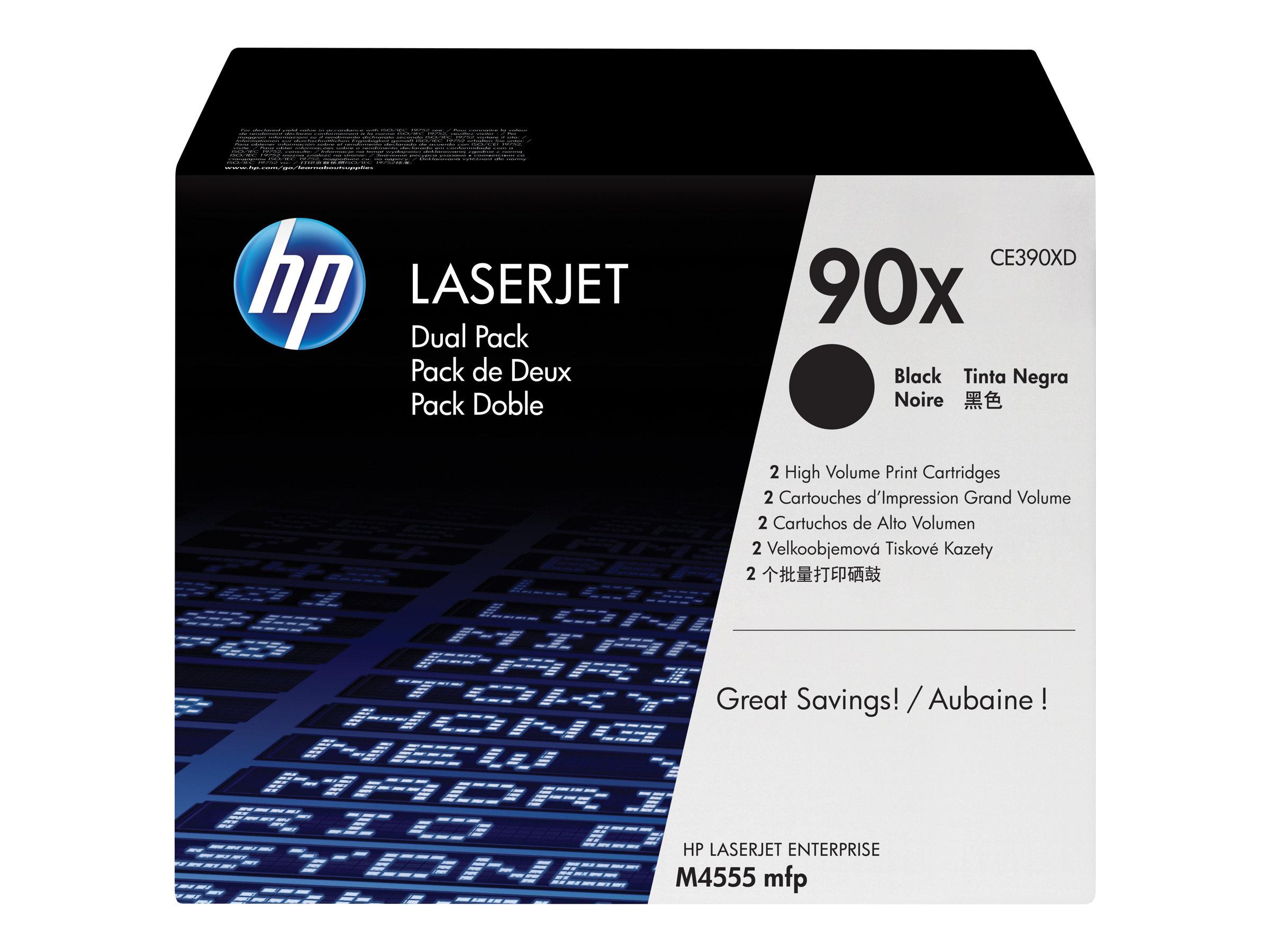 HP 90X - pack de 2 - à rendement élevé - noir - originale - LaserJet - cartouche de toner (CE390XD)