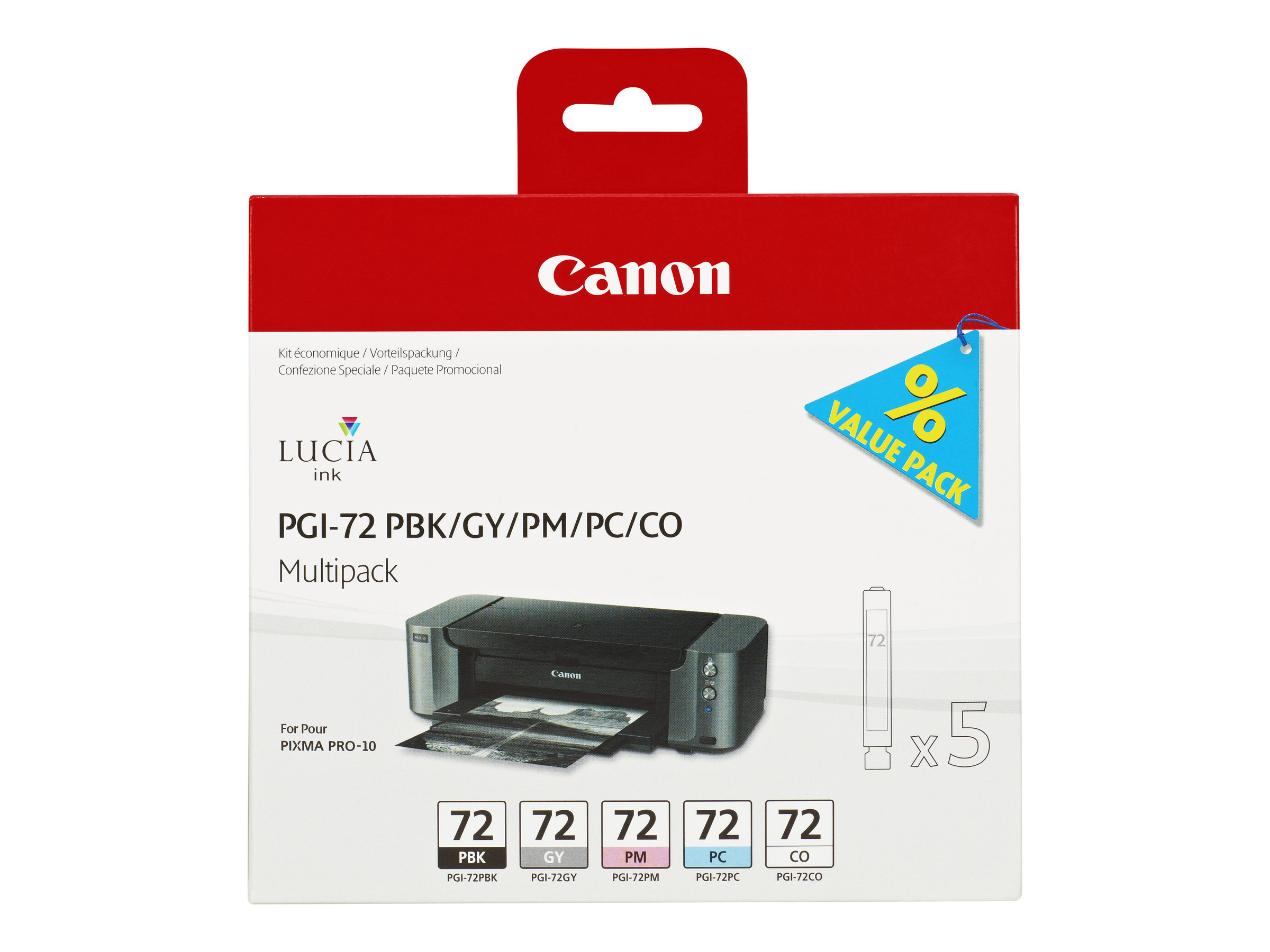 Canon PGI-72 PBK/GY/PM/PC/CO Multipack - pack de 5 - gris, photo noire, photo cyan, photo magenta, optimiseur de couleurs - originale - réservoir d'encre