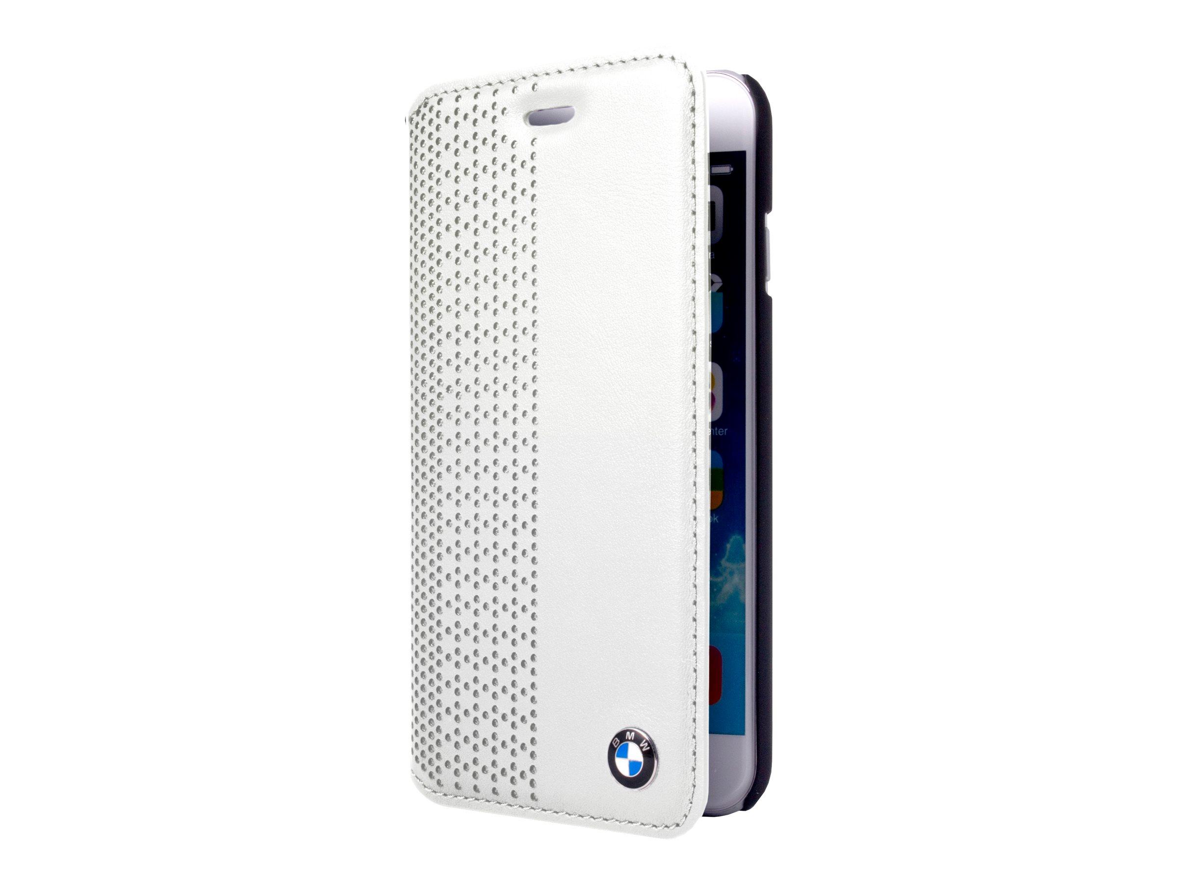 BMW - Protection à rabat pour iPhone - cuir véritable - blanc - pour iPhone 6 Plus, 6s Plus