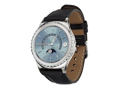"Samsung Gear S2 - Classic - 40 mm - platinum - smart watch with strap - leather - black - 1.2"" - 4 GB - Wi-Fi, NFC, Bluetooth - 1.48 oz"
