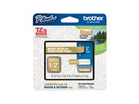 Brother TZe-MQ835 - White on satin gold - Roll (0.47 in x 16.4 ft) 1 roll(s) laminated tape - for Brother PT-D210, D600, H110; P-Touch PT-D450, D800, H110, P300, P900, P950