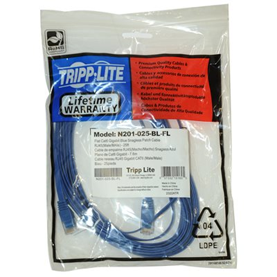 Computers/tablets & Networking Buy Cheap Tripp Lite 25ft Flat Cat6 Gigabit Snag Less Blue Patch Cord Cable N201-025-bl-fl A Complete Range Of Specifications