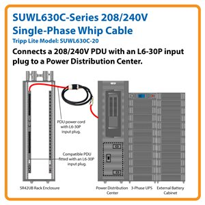 TrippLite 208/240V Single Phase Whip in 20-ft length with L6-30R for  Breakered 3 Phase Distribution Cabinets (SUWL630C-20)