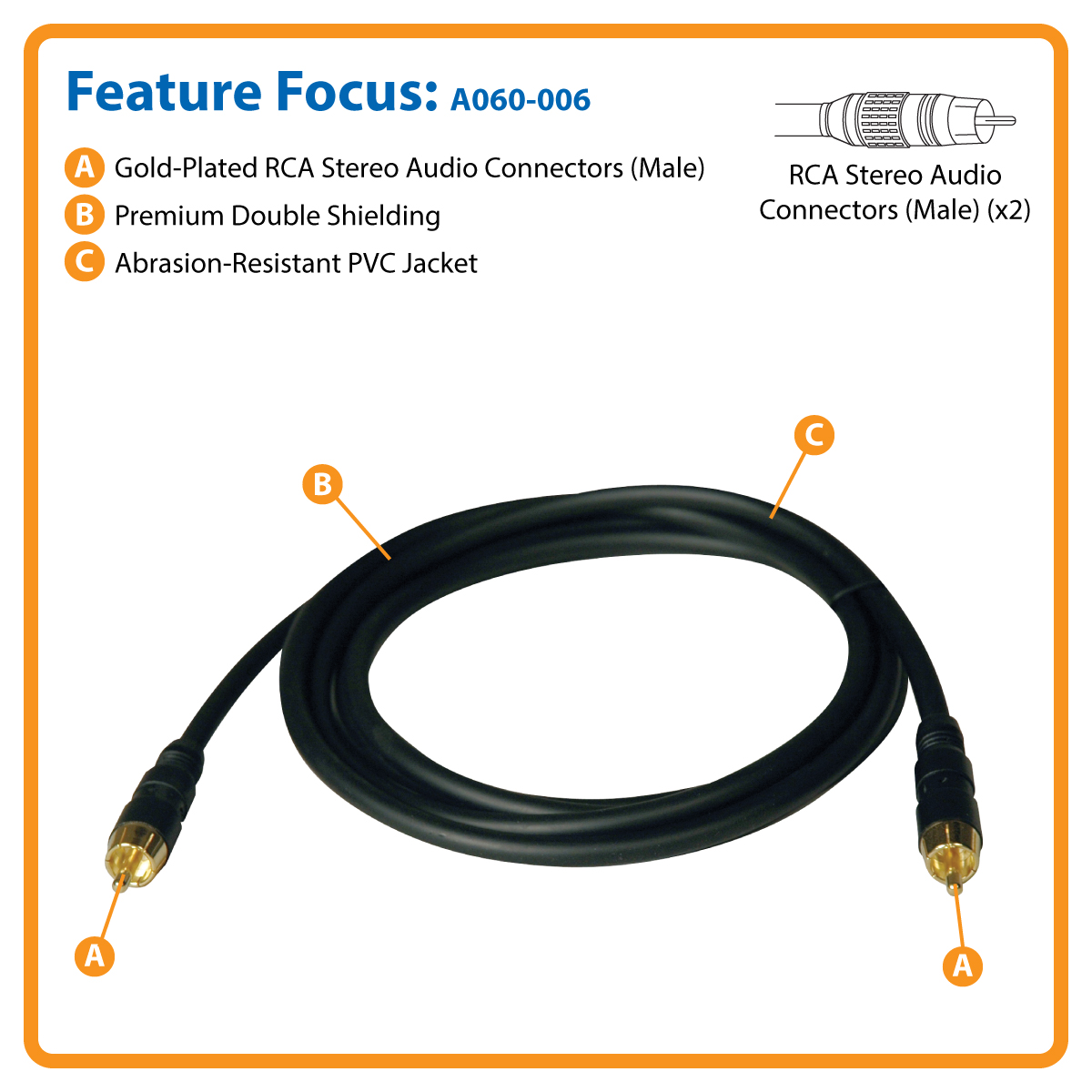 Tripp Lite Digital Audio Cable Coaxial Rca M 6 To Rf Gold Ft