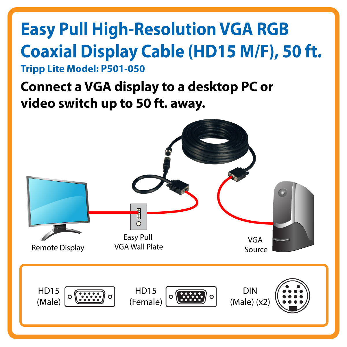 F Coax To Vga Wiring Diagram Electrical Diagrams Tripp Lite Easy Pull Monitor Extension Cable With Connectors Coaxial Hookup