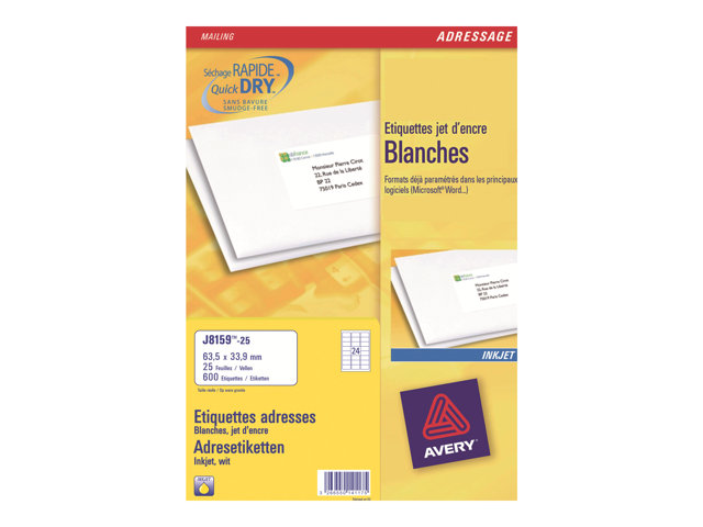 Image of Avery - address labels - 2400 label(s) - 63.5 x 33.9 mm