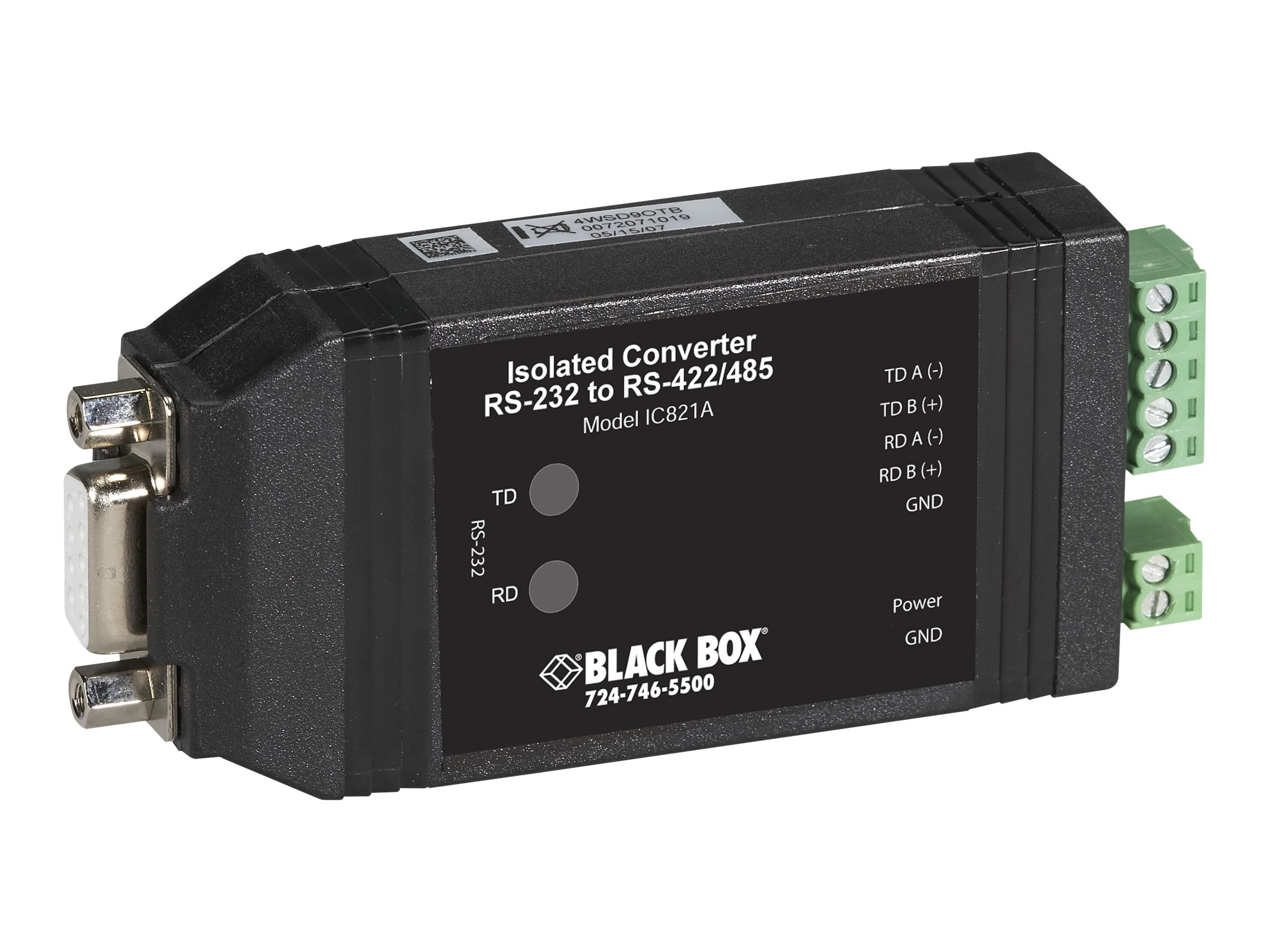 Black Box Universal RS-232<->RS-422/485 Converter with Opto-Isolation - serial adapter