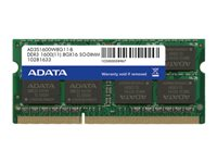 ADATA Premier Series - DDR3 - 4 Go - SO DIMM 204 broches - 1600 MHz / PC3-12800 - CL11 - 1.5 V - mémoire sans tampon - non ECC