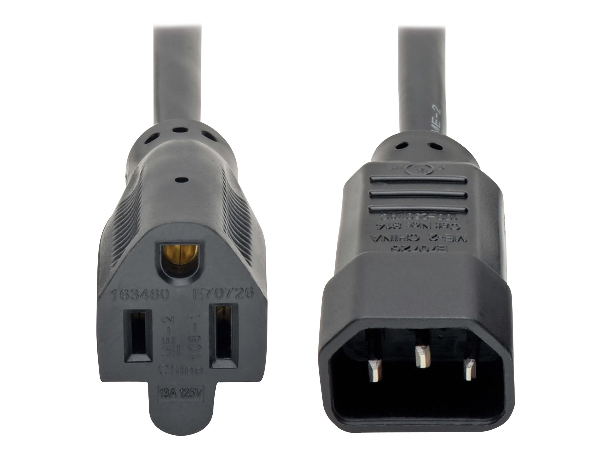 Tripp Lite Standard Computer Power Cord 12A 16AWG C14 to 5-15R - power cable - 61 cm
