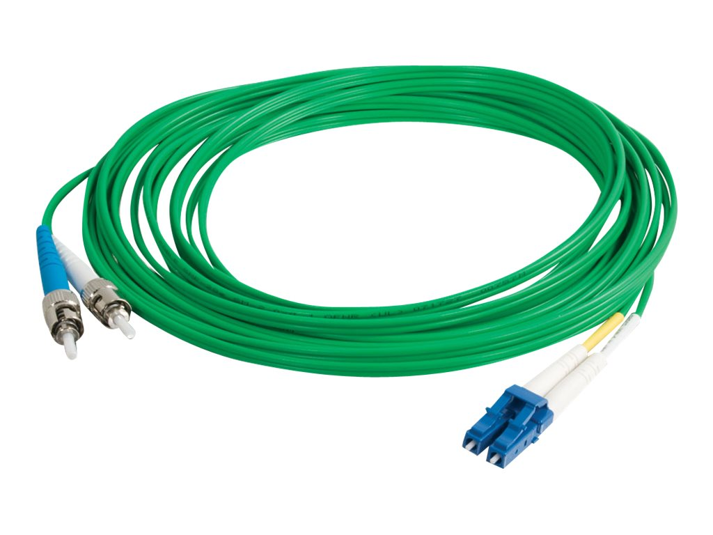C2G 1m LC-ST 9/125 Duplex Single Mode OS2 Fiber Cable TAA - Green - 3ft - patch cable - 1 m - green