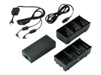 Zebra 3-Slot Battery Charger Connected via Y Cable - Battery charger - output connectors: 3 - United States (pack of 2) - for QLn 220, 220 Healthcare, 320, 420; ZQ500 Series ZQ510, ZQ520; ZQ600 Series ZQ610, ZQ620