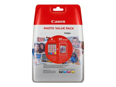 Canon CLI 571 /BK Photo Value Pack Sort Gul Cyan Magenta 500 sider 100 x 150 mm 50ark