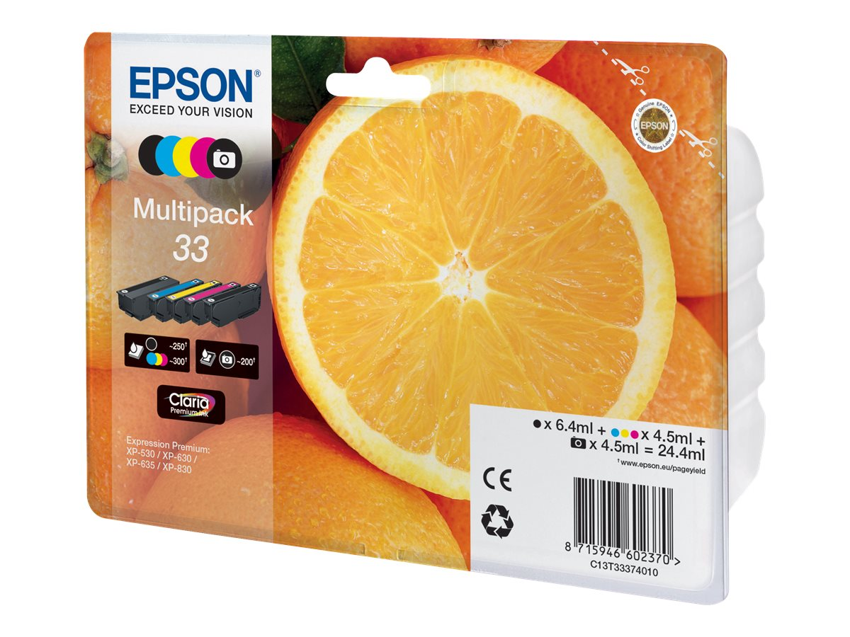 epson t33 orange pack de 5 noire cyan magenta jaune original cartouche d 39 encre epson. Black Bedroom Furniture Sets. Home Design Ideas