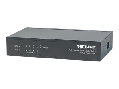 Intellinet PoE-Powered 5-Port Gigabit Switch with PoE Passthrough - Switch - 1 x 10/100/1000 + 4 x 10/100/1000 (PoE) - Desktop - PoE+ (68 W)